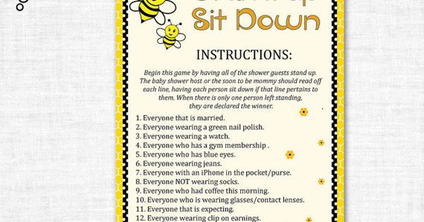 Stand Up Sit Down Baby Shower Game Printable Stand Up Sit