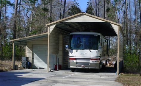 P Metal Rv Shelter With Boxed Eave Roof P Rv Shelter Rv Carports Rv Storage