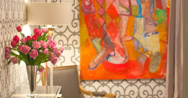 Colorful large-scale art paired with trellis wallpaper or stencil!