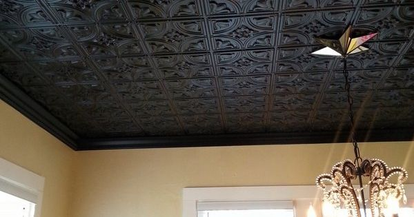 tin ceiling ideas pinterest - black decorative tin ceiling tiles chandelier home