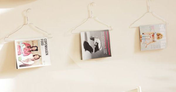 DIY Magazine display using wire hangers
