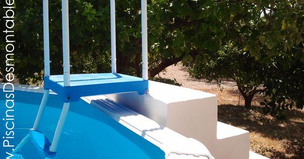 Escalera de piscinas desmontables toi adaptada a una for Escalera piscina desmontable