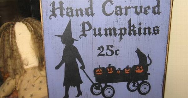 Pinterest Halloween Wall Decor : Pumpkins for sale witch wiccan handpainted wood sign