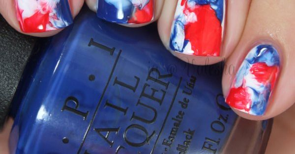 4th of july water marble nail art tutorial