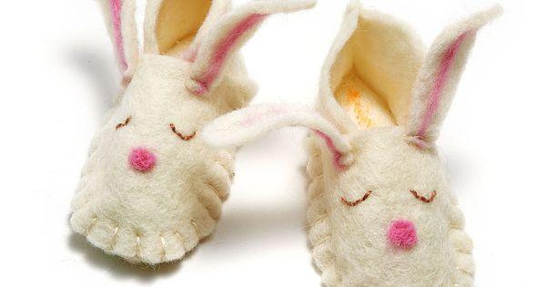 Felt Baby Bunny Slippers