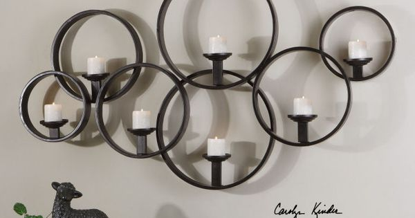 Circular Wall Sconce Candle Holder : Contemporary Candle Wall Sconce Modern Large Black Metal Circles Round Decor Black, Circles ...