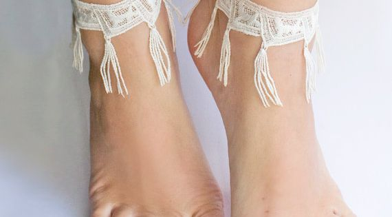 Lace anklet - Morrocan Fringe - White, Black or Grey Lace