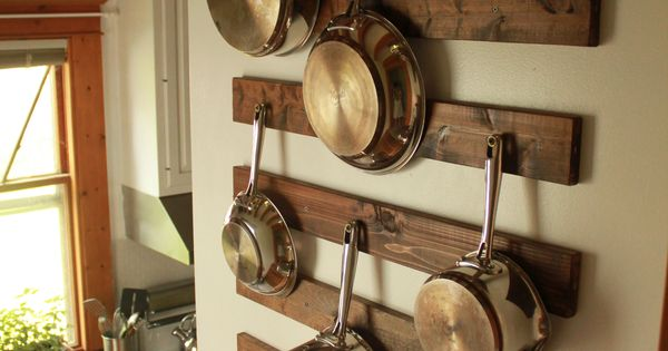 diy wall mounted pot and pan rack not ideal for springfield but gets ideas going cabin. Black Bedroom Furniture Sets. Home Design Ideas