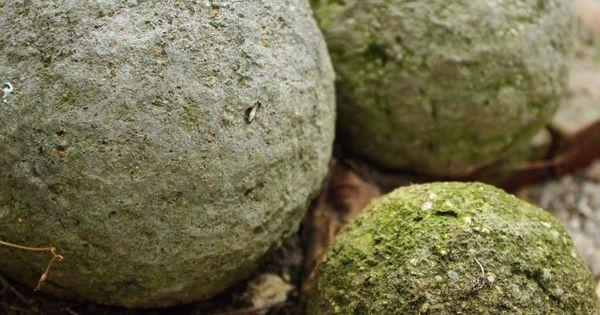 Concrete garden balls.