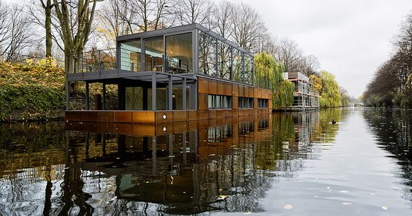 #lifestyle nature environment - Houseboat On The Eilbek Canal by Sprenger Von