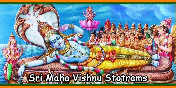 List Of Sri Maha Vishnu Stotrams English Telugu Tamil Kannada