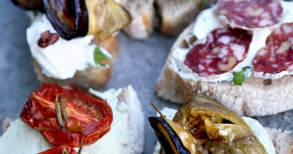 Goats cheese and roasted vegetable bruschetta