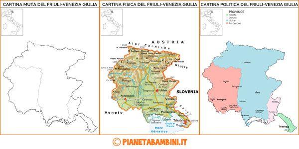 Cartina Fisica E Politica Del Piemonte.Cartina Muta Fisica E Politica Del Friuli Venezia Giulia Da