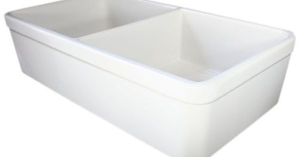 Farmhouse Sink With Two Bowls : AB512 32-Inch Biscuit Double Bowl Fireclay Farmhouse Kitchen Sink ...
