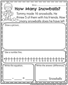 1st Grade Worksheets For January Word Problems First Grade Words Subtraction Word Problems