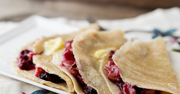 Roasted blueberry and rhubarb crepes. food breakfast dessert crepes