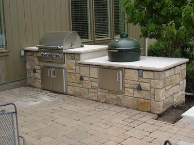 Outdoor Kitchen With Gas Grill And Big Green Egg Also Need A Fireplace Dustin Might Like Someth Outdoor Kitchen Outdoor Kitchen Island Outdoor Kitchen Kits