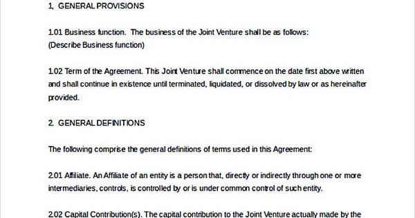 Joint Venture agreement Document_001 , Joint Venture Agreement - sample joint venture agreement