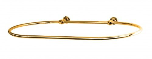 Oval Shower Curtain Rail With 2 Wall Fixing In Polished Brass