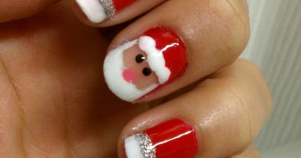So cute; Christmas nail art; Santa Claus nail art; Holiday nails; nailart