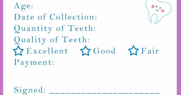 "Where was this when my kids where younger!?!? ---""Tooth Fairy Receipt Printable"""