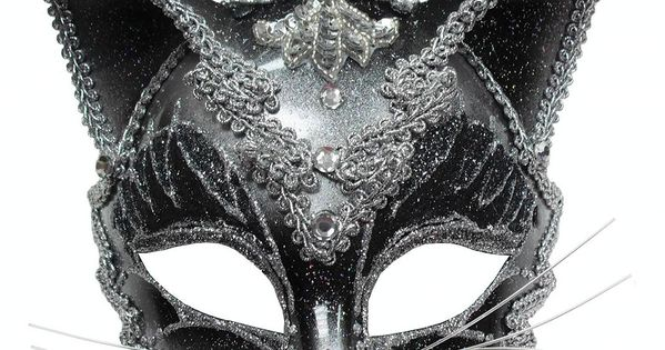 Masquerade Masks for Prom | JEWELLED BLACK CAT MASK - VENETIAN MASQUERADE