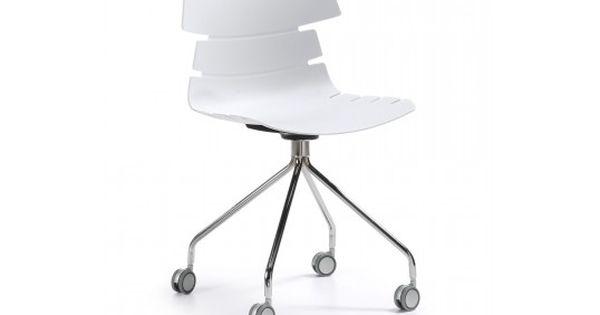 chaise de bureau delf blanche avec 4 roulettes | Chaise