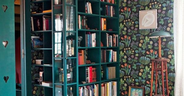 Home Library ~ corner shelves in teal