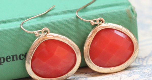 coral and yellow gold earrings