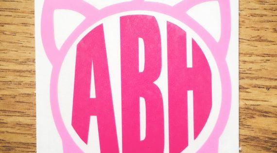 Light Pink Amp Dark Pink Pig Monogram Vinyl Decal For Yeti
