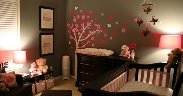 Less white on babies rooms: dark wood baby furniture, dark grey and