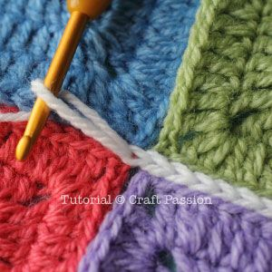 Flat Slip Stitch Join For Granny Squares Craft Passion Joining Crochet Squares Granny Square Crochet Pattern Slip Stitch Crochet