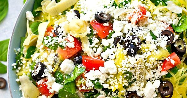 Greek Spaghetti Squash Salad with Lemon Garlic Dressing | Recipe