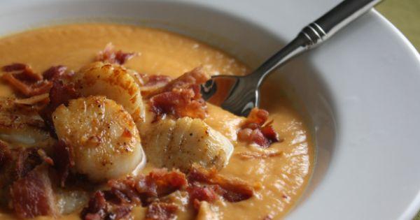 hiver soupe de patates douces au lard et noix de saint jacques cuisine soupes potages. Black Bedroom Furniture Sets. Home Design Ideas
