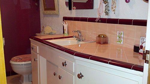 Marsha Saves Her Peach Tile Bathroom With Help From B W Tile Retro Pink Bathroom Burgundy Bathroom Small Bathroom Redo
