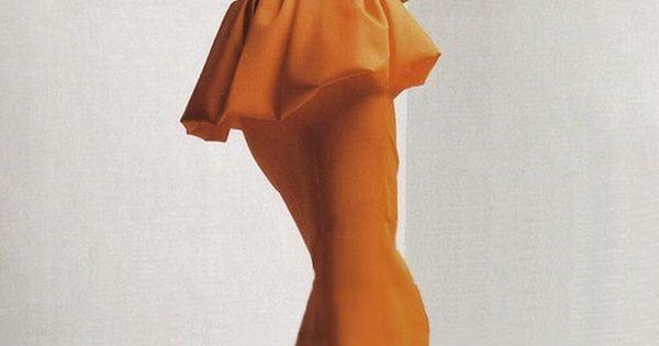orange peplum long skirt