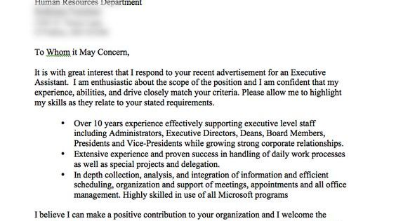 very good cover letter