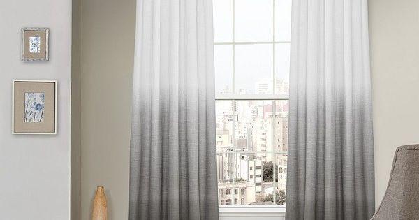 Blue Ombre Window Curtains: Vue Signature Arashi Ombre Fashion Drapery Curtain, Grey