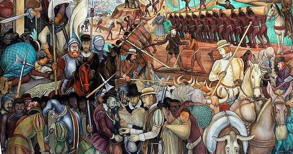 Diego rivera la conquista espa ola de la naci n azteca for Diego rivera la conquista mural