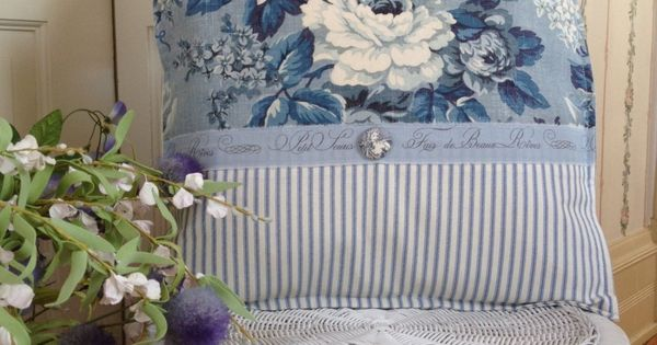 french country pillow cover shabby chic pillow sham paris inspired pillow paris blue cabbage. Black Bedroom Furniture Sets. Home Design Ideas