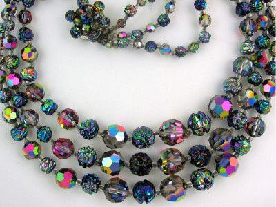 Vintage 1950s Carnival Glass And Crystal Necklace Vintage Costume Jewelry Carnival Glass Vintage Glass Bead Necklace