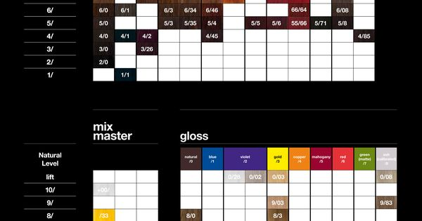 Tigi Copyright Colour Swatch Chart Color Charts