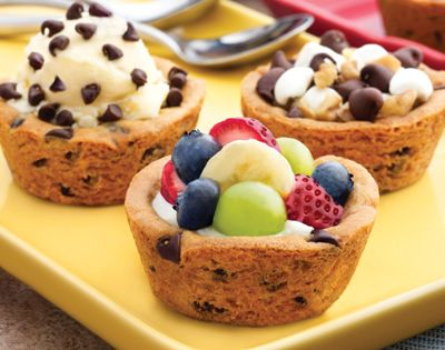 Ice cream party idea. Make the cookie bowls by putting cookie dough