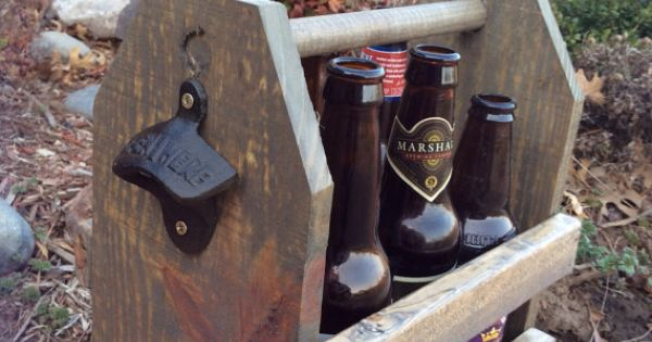 Wooden Beer Carrier Caddy Crate Holder Tote By