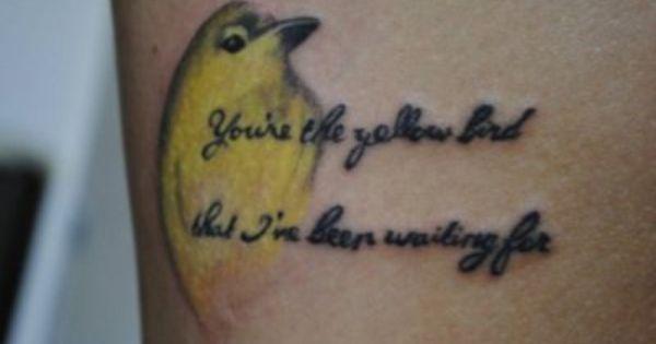 Oh Gosh My Son Dj Needs To See This Bright Eyes Tattoo Yellow Bird Tattoo Bird Tattoo Wrist