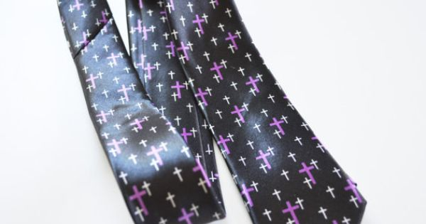 Mens Tie Black and Purple Cross Modern Pattern by TiestheKnot, $8.99