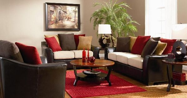 Dark brown red living room colorful 560 372 for Red brown and black living room