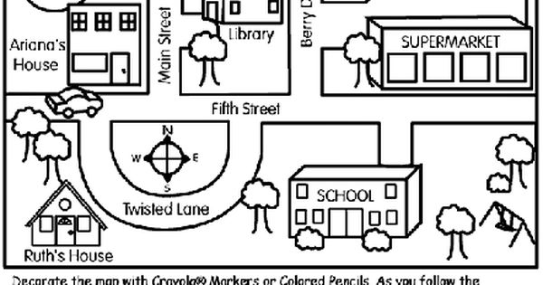 Here's a simple neighborhood map coloring page ...