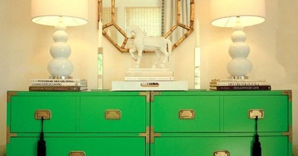 Kelly Green Campaign Dresser. Love the color!