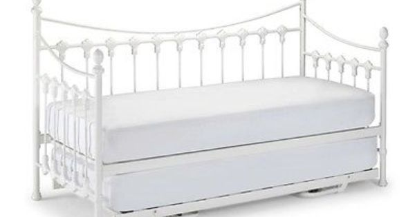 Vintage White Versailles Single Metal Day Bed Mattress Trundle Guest Bed Trundle Only Daybed With Trundle Metal Daybed Bed